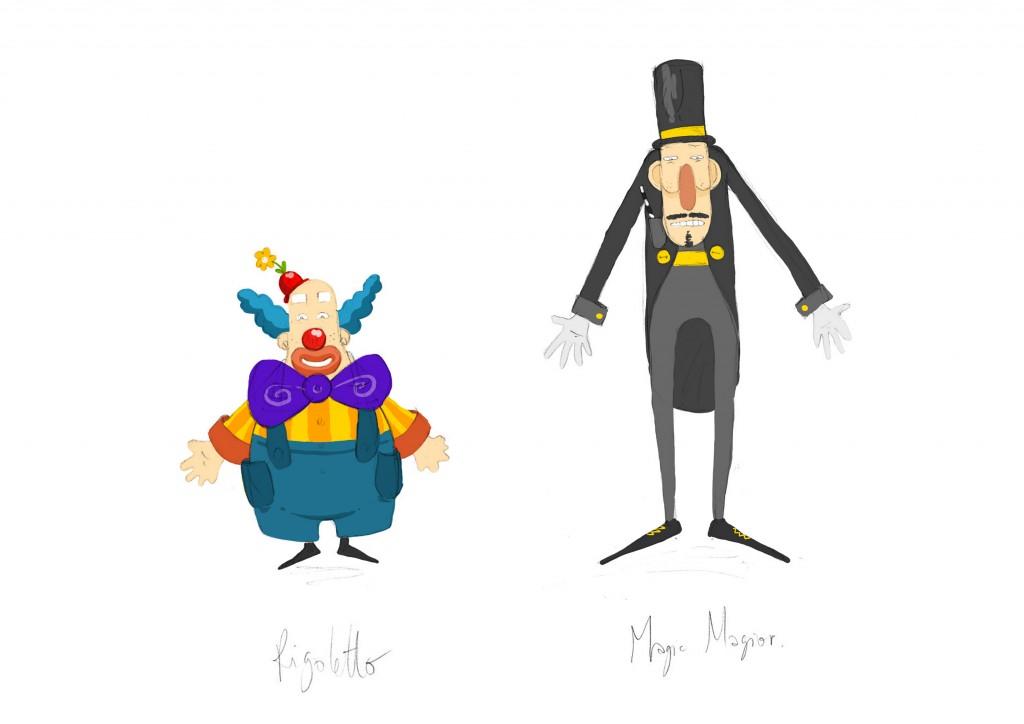 Rigoletto le clown et Magior le magicien