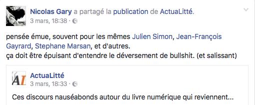 Commentaires NG sur FB